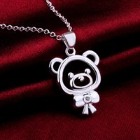 bear jewelry - Lovely Bear Styles pendants necklaces Romantic Pure silver N563 gift box Free Fashion New Jewelry Brincos de Prata