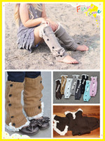 wool boot socks - Newest colors winter cute Button Down Boot Cuffs baby girls lace flat warm wool knit handmade leg warmers Boot Socks Knee High Socks S155