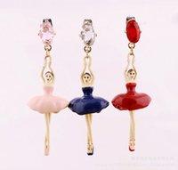 ballet earrings - Elegant Ballet Girl Gem Dangle Earring For Women Luxury French Brand Les Nereides Dancing Girl Earrings Lady All match Party Jewelry