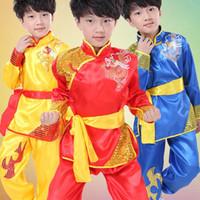 al por mayor totem dragon-Rendimiento Dancewear Ropa Vestuario teatral 110cm-160cm de 2016 nuevos de la llegada del estilo chino Dragón Totem Tai Chi Kung Fu artes marciales para niños