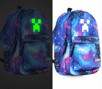 canvas backpacks - New Arrival Fashion Luminous Minecraft Casual Backpacks Travel Double Shoulder Bags School Bag For Boys Best Gifts