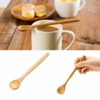 Wholesale Kitchen Utensil Small Round Bamboo Spoon Natural Wooden Long handle Crafts Stir Tool Green Health