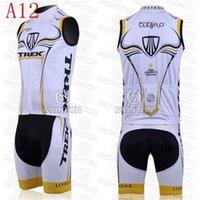 Wholesale 2014 popular type outdoor road bodysuit team trek cycling jersey white bib sleeveless men bicycle clothing