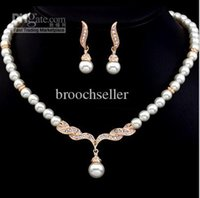 Wholesale Rose Gold Color Cream Glass Pearl and Rhinestone Crystal Bridal Necklace and Earrings Jewelry Sets