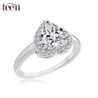 Wholesale Teemi Cheap Fashion Heart Shape Sparkling Colors Australia Crystal CZ Women Charm Wedding Zirconia Platium Rings Chrimas Gift