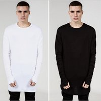 big and tall white tees - Fashion Mens Extended Tee Long Sleeve Oversized Hip Hop Black White Grey Wool Tshirt Plus Size For Men Big and Tall AY725