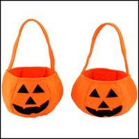 Wholesale Halloween Pumpkin Bag Kids Handbags Childrens Bags Boys Girls Handbag Halloween Props Candy Bag Candy Basket Fashion Bag