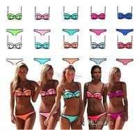 Wholesale 2015 New Bikini Swimsuit Bath Suit Women neoprene Bikini Sexy Triangle Push Up Bikini Fashion Women Swimwear