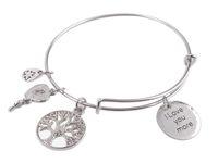 Wholesale 1PCS Expandable Wire Bangle I Love you more Round Charm Bracelet