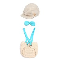Wholesale Lovely Baby Velvet Crochet Knitting Photography Props Children s Cosplay Khaki Hat Animal Style Infant Costume Outfit Set XDT7
