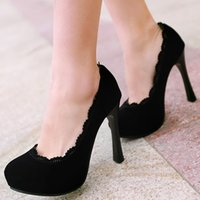 Cheap ENMAYER Black Red Brown Big Size 34-43 Fashion Women High Heel Shoes Sexy Lace Stylish Party Stiletto Brand New Platform Pumps