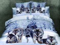 Wholesale DHL Wolf Bedding Set Queen Size Wolf Print Bedding Set Manly Bedding Cotton Duvet Cover Bed Sheet Pillow Case