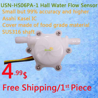 Wholesale USN HS06PA mm Hose Barb End Hall Water flow Sensor Turbine Flow Meter L min Error Ideal for Drinking Machine Water