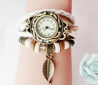Wholesale Drop Price luxury Pastoral Vintage Watch Leaf Pendant Leather Strap Casual Watches Analog Bronze Leaves women Ladies Quartz watch New