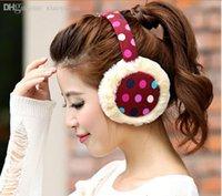 Wholesale pieces colorful Polka Dot earmuffs warm Lovely soft rabbit fur candy ear cover ear warmer cap colors cm