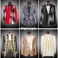 Precio de Rojo corbatas de lentejuelas hombres-1225 (chaquetas + pantalones + pajarita) 2015 hombres de la marca de moda trajes Blazers delgado personalizado adorno de esmoquin novios cequis baile de color rojo boda hombre cantante