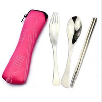 best chopsticks - High Quality Eco friendly Camping Tableware colors Outdoor Portable Lunch Stainless Steel Chopsticks Spoon Fork Tableware Sets Best gift