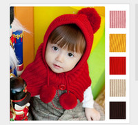 Wholesale Children S Winter Capes - 2015 Spring Fall Winter Children Soft Warm Knited sweater cappa with Caps hats Cape S M L Red Yellow Brown Beige Pink Kids Caps M302