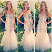 Wholesale 2015 Shimmering Beaded Mermaid Prom Dresses Sweetheart Sleeveless Lace up Floor length Champagne Tulle Evening Formal Gowns