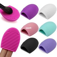 Wholesale 6 Colors Brush egg Cleaning Makeup Washing Brush Silica Glove Scrubber Board Cosmetic Clean Tools Made beauty
