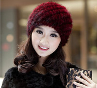 Wholesale Imported mink fur knitting fashion lady warm winter earmuffs middle aged and old pineapple fur hat bag mail