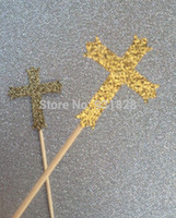 baptism cake topper - cheap Gold Cross Cupcake Toppers Cake Decorations First Holy Communion Baptism Confirmation wedding cupcake topper