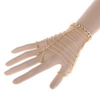 alloy ladders - Fashion Jewelry Punk Gold Multilayer Chain Finger Ladder Hand Harness Hand Chain Bracelet Slave Bracelet