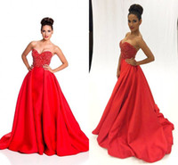 ball gowns usa - Red Ball Gown Prom Dresses Luxury Beading Ruffles Satin Backless Sweetheart Custom Made Miss USA Pageant Sweet Dresses Evening Gowns