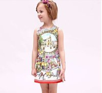 Cheap 2016 Spring WLMonsoon Girls Dress Sleeveless Fruits Flowers Jacquard Dress Party Vintage Dress Girl Luxury Clothes Dress Jumper Tops K6511