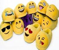 Wholesale Emoji Slippers QQ Expression cute cartoon Slipper D Emoji Novelty Boots Plush Stuffed Mule Soft Indoor Slippers Shoes D174