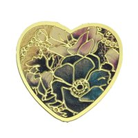 Wholesale Floating Charms For Glass Living Memory Locket Pendants Heart Gold Plated Flower Pattern mmx mm new