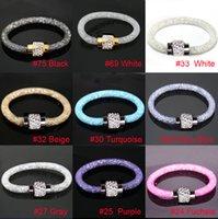 plastic magnetic - 12pcs Shining cm Stardust Bracelets Mesh Chain With Full Resin Crystal Inside Magnetic Wrap Shamballa Bracelet Color U Pick DH JDB002