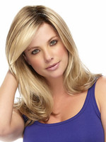 heat resistant wig - Brown blonde Wavy Long Wigs with side bangs Fashion Heat Resistant Synthetic hair wigs eurasian curly hair for Women party wigs