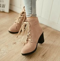 Cheap Grind arenaceous lace-up round head naked boots martin high heel boots women short boots evening party bridal wedding boots yzs168