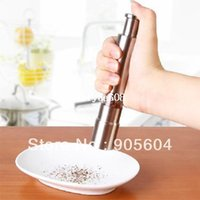 cinnamon - Hot selling Portable Stainless Steel Thumb Push Salt Pepper Grinder Spice Sauce Mill Grind Stick Kitchen tool Cooking tools