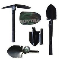 Wholesale 2014 Brand Mini Military Style Multifunctional Shovel New Outdoor Camping Folding Survival Trowel With Spade Pick Saw Compass