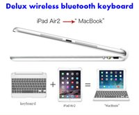 Wholesale 2015 NEW IPAD Keyboard Delux Wireless Bluetooth Keyboard Aluminum Case With Wireless Bluetooth Keyboard For iPad air DHL