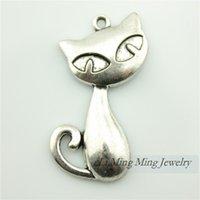 Wholesale 10pcs x32mm Zinc Alloy Cat Charm Pendant Antique Bronze Silver Fit DIY Metal Jewelry Making