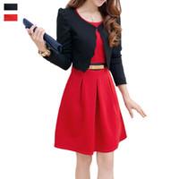 Cheap Women Business Uniforms Suits With Long Sleeve Jackets And Tailored Dress Two Piece Conjunto De Blazer E Vestido Feminino