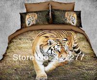 nuevos animales tigre ropa de camas de impresión pastizales del sistema / de la cama de colcha de tela niño / hombre de poliéster cubre conjuntos de edredón hoja