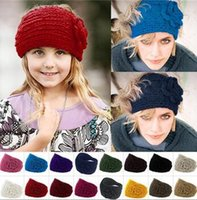 Cheap headbands for women Unisex Fashion Wool Crochet Headband Knit Flower Winter Ear Warmer hair bands accessories