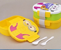 Wholesale Hot Sale ml Kids Despicable Me Lunch Box Bento Case with Spoon Dinnerware Set Minions Bowl Children Cartoon Lunch box Christmas gift