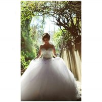 Wholesale 2015 Long Sleeve Wedding Dresses Sweetheart Bling Bling Floor Length Backless Lace up Ball Gown Vintage Bridal Gowns Spring