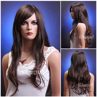 Wholesale natural looking long brown curly wigs for women Beautiful realistic wig Discount with bangs wigs