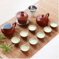 Wholesale YIXING purple clay Tea set set grit teapot clay gaiwan small tea cups for Chinese kung fu tea service