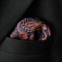 mens tie handkerchief - KH5 Floral Navy Blue Orange Maroon Brown Handkerchief Mens Ties Jacquard Woven Hanky Suit Gift