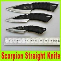 оптовых leging-Выживание нож Scorpion дайвинг прямой нож наружный механизм кемпинга нож leging нож метательные ножи с ножен A473X было?