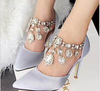 Wholesale 2015 crystal rhinestone ladies wedding shoes for bridal hot plus big size high heels silver white champagne party wedding shoes for women