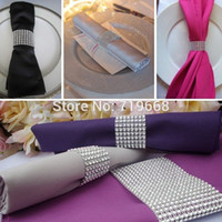 "Cheap 50Pcs Silver 1.5"" 8Rows Bow Covers With Velcro Closure Napkin Ring Diamond Rhinestone Wedding Chair Sashes Bows Holder"