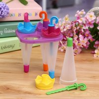 Cheap 4PCS DIY Ice Cream Pop Mold Frozen Umbrella Ice-lolly Icepop Block Maker PTSP